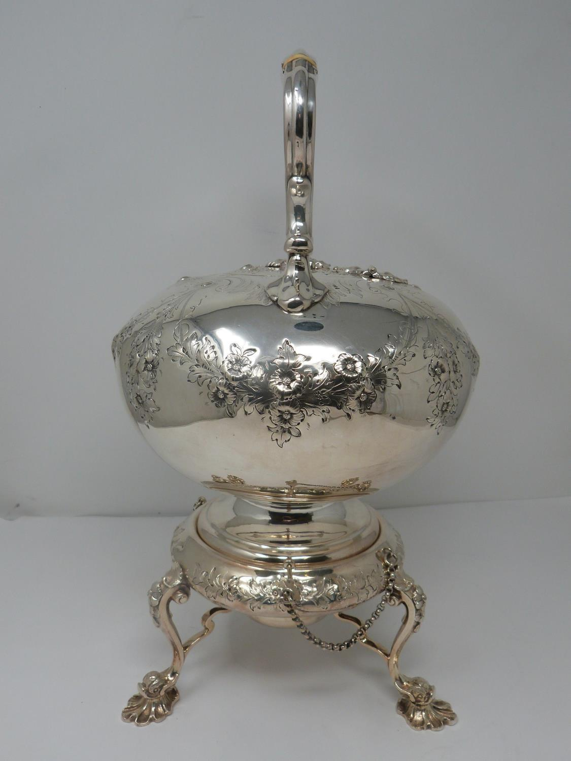 An antique white metal and ivory spirit kettle and stand. The kettle has a flower bud finial and - Image 8 of 17