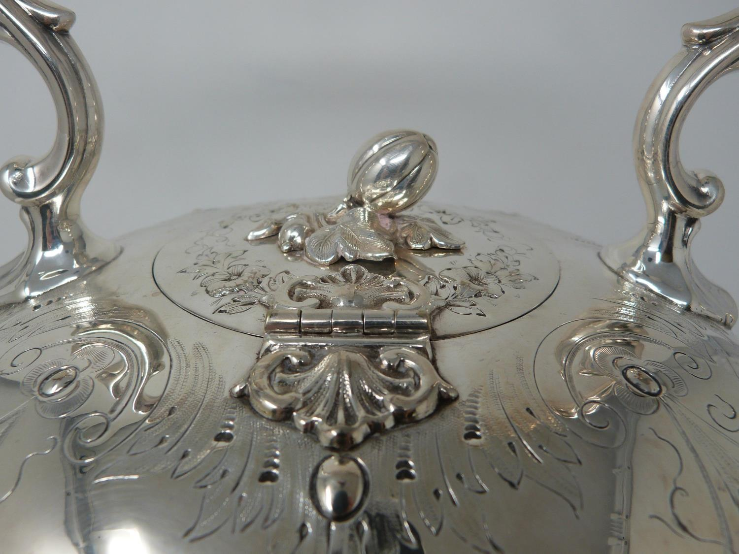 An antique white metal and ivory spirit kettle and stand. The kettle has a flower bud finial and - Image 10 of 17
