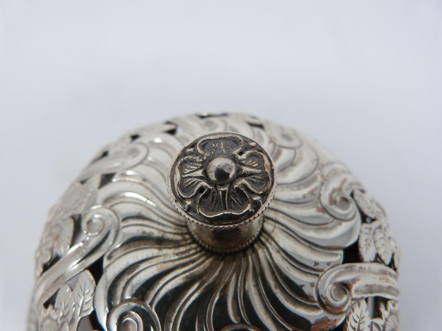 A Victorian silver pierced desk bell with stylised floral design and stylised four petal flower to - Image 6 of 6