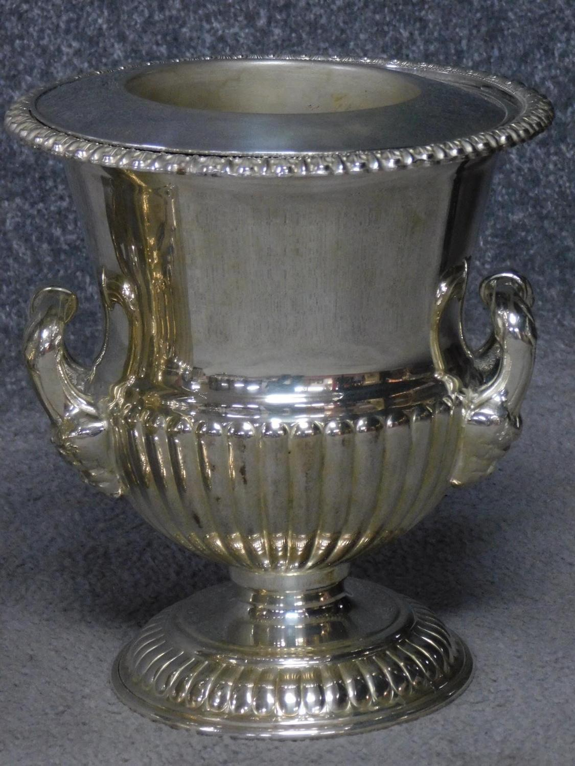A pair of antique Old Regency Sheffield silver plated wine coolers by Henry Wilkinson and Co. with - Image 2 of 6