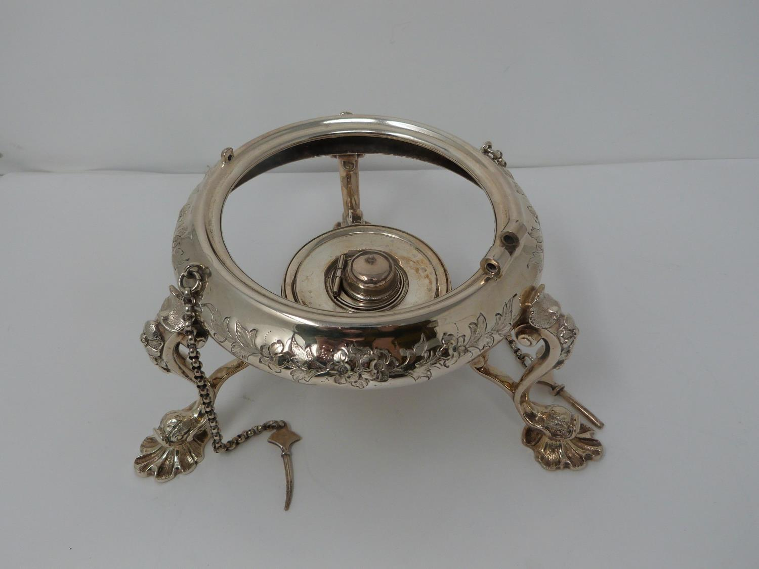 An antique white metal and ivory spirit kettle and stand. The kettle has a flower bud finial and - Image 12 of 17