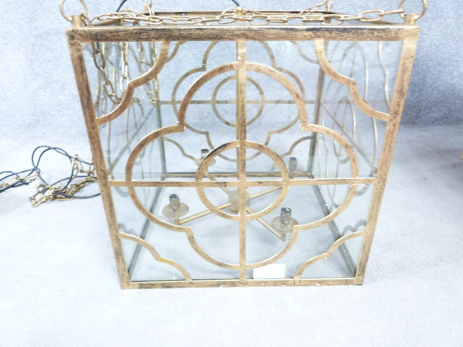 A Julian Chichester gold 'Anna' design pierced metal hanging ceiling lantern with stylised floral - Image 5 of 8