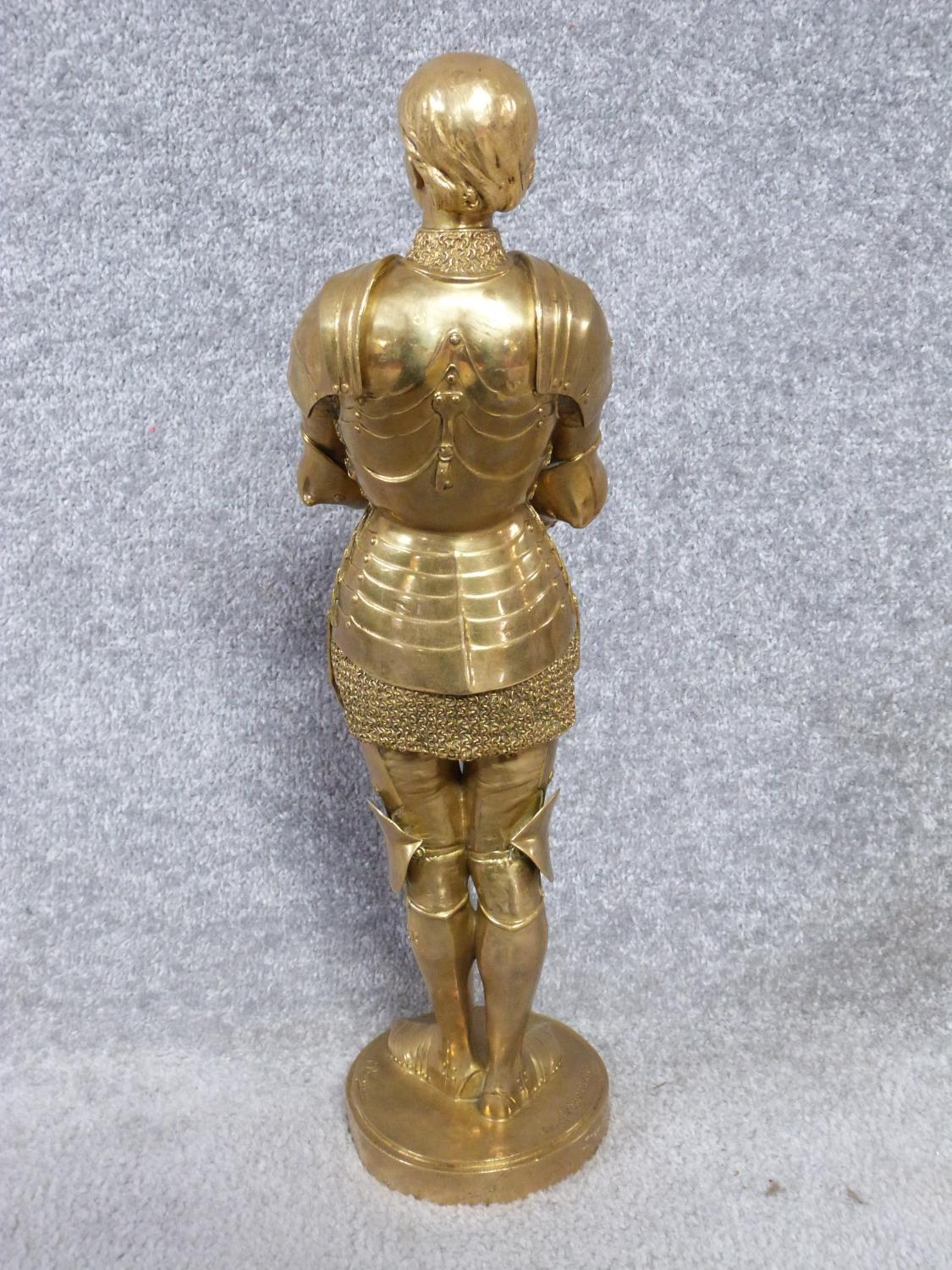 A Barrias gilt bronze Joan of Arc statue. Louis Ernest Barrias (French, 1841-1905), a gilded - Image 2 of 13