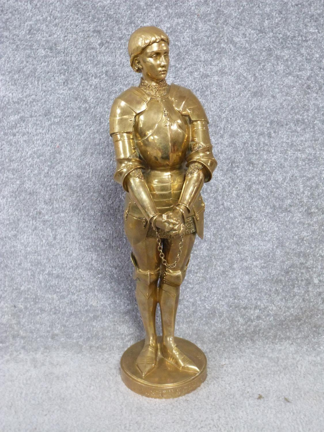 A Barrias gilt bronze Joan of Arc statue. Louis Ernest Barrias (French, 1841-1905), a gilded