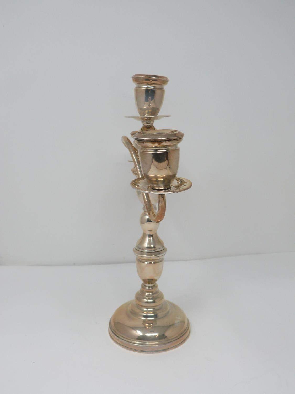 A continental silver three branch candelabra with weighted round base and twisted design. Stamped to - Image 2 of 6