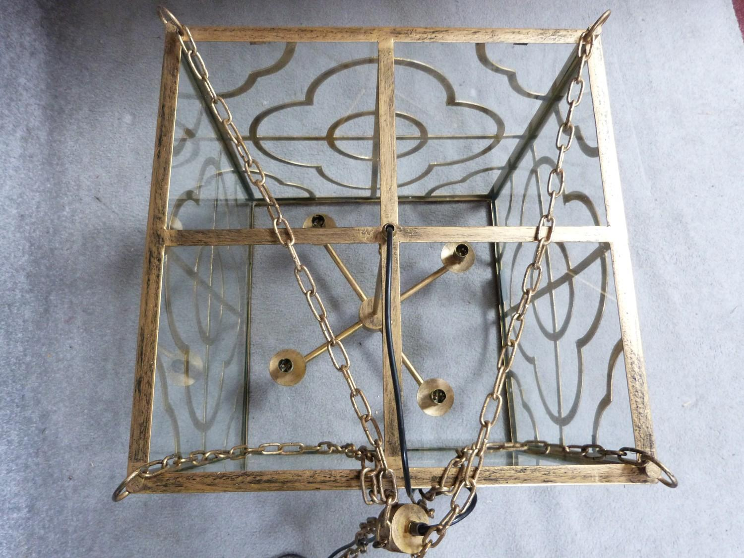 A Julian Chichester gold 'Anna' design pierced metal hanging ceiling lantern with stylised floral - Image 6 of 8