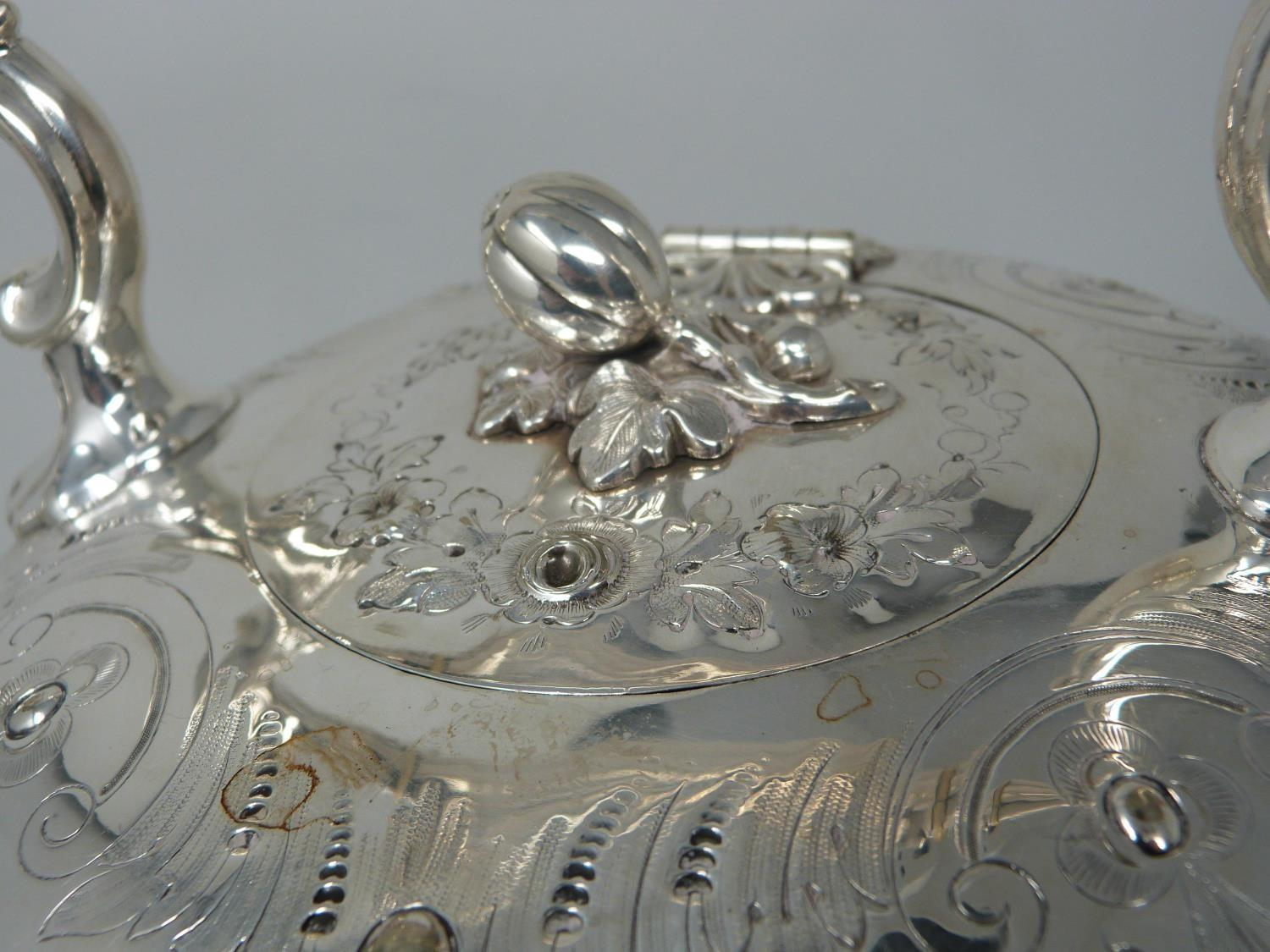 An antique white metal and ivory spirit kettle and stand. The kettle has a flower bud finial and - Image 7 of 17