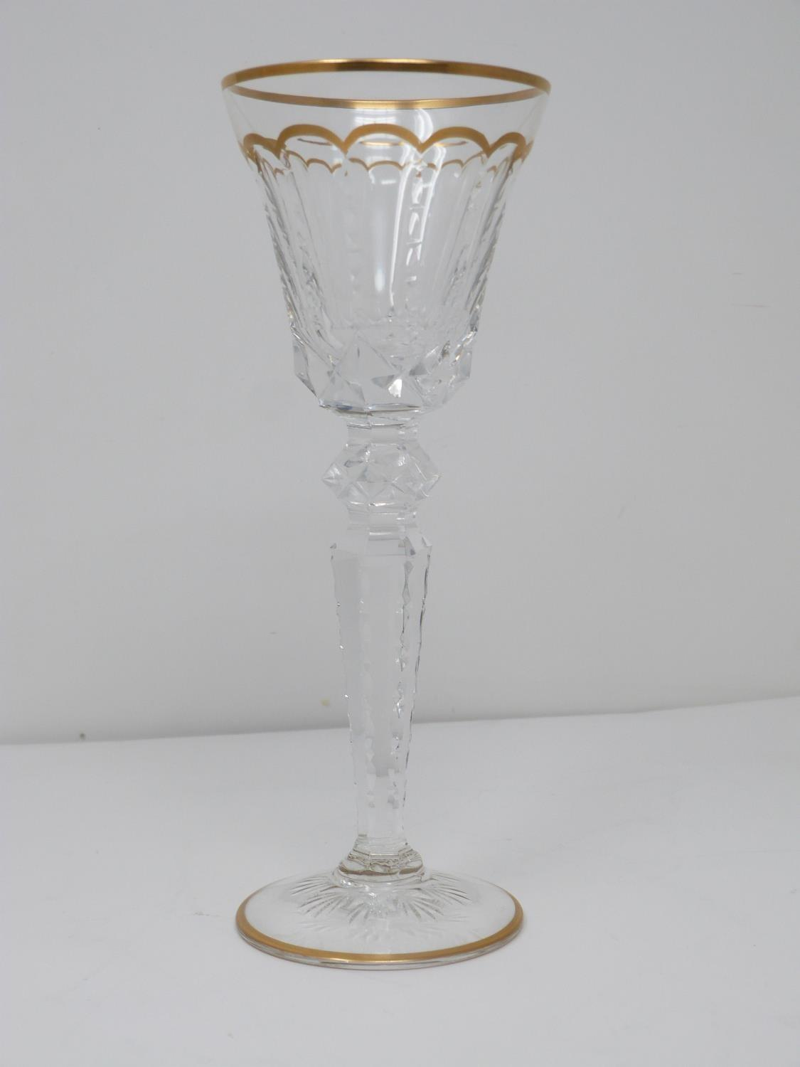 A set of eight St Louis crystal sherry glasses, with gilded scalloped detailing and gilded edge to - Image 2 of 4