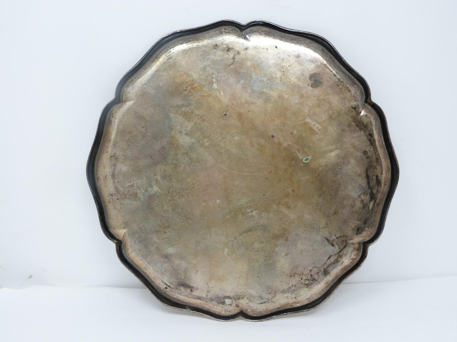 A German silver tray with scalloped edge. Stamped to the base with German hallmarks, 830S. - Image 3 of 4