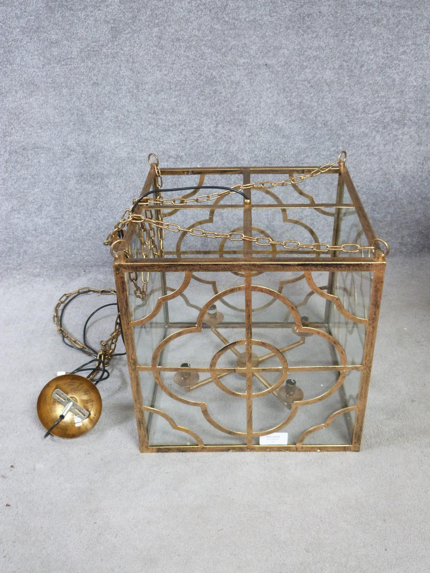 A Julian Chichester gold 'Anna' design pierced metal hanging ceiling lantern with stylised floral - Image 2 of 8