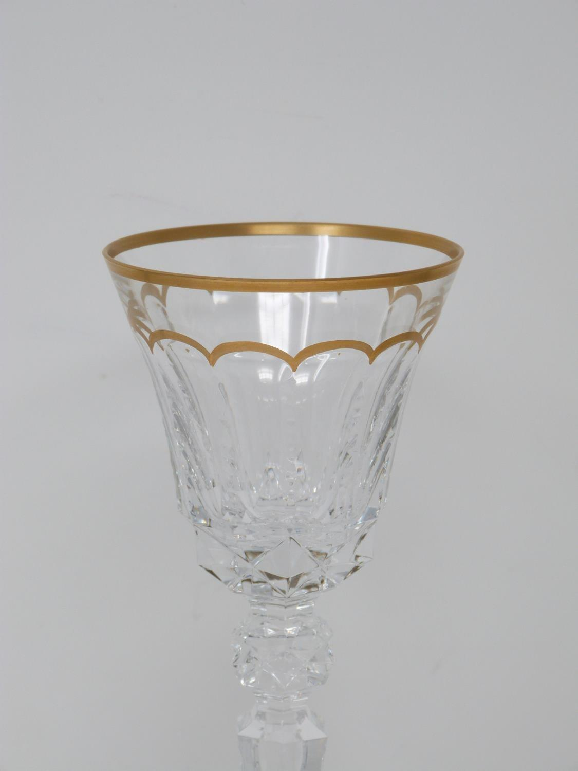 A set of ten St Louis Excellence crystal wine glasses, with gilded scalloped detailing and gilded - Image 5 of 5