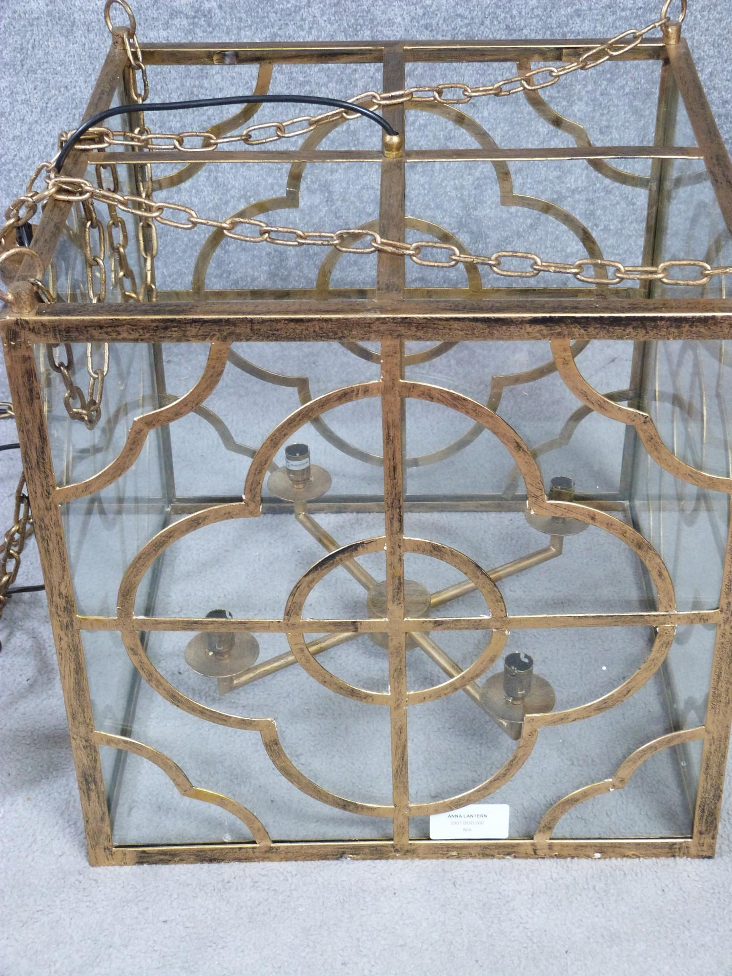 A Julian Chichester gold 'Anna' design pierced metal hanging ceiling lantern with stylised floral - Image 7 of 8