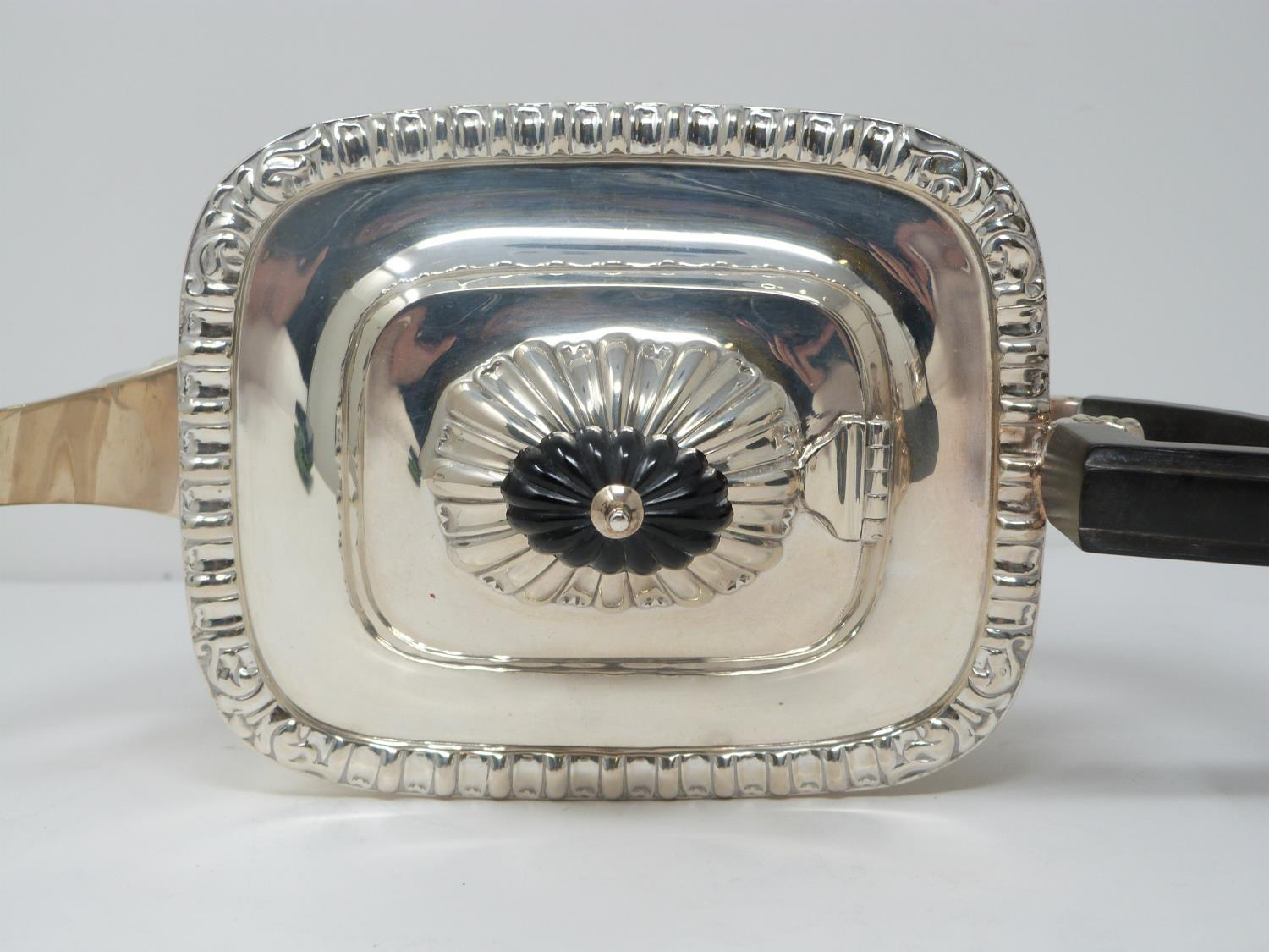 An Elkington and Co. silver three piece tea service, includes a teapot, sugar bowl and milk jug. - Image 6 of 12
