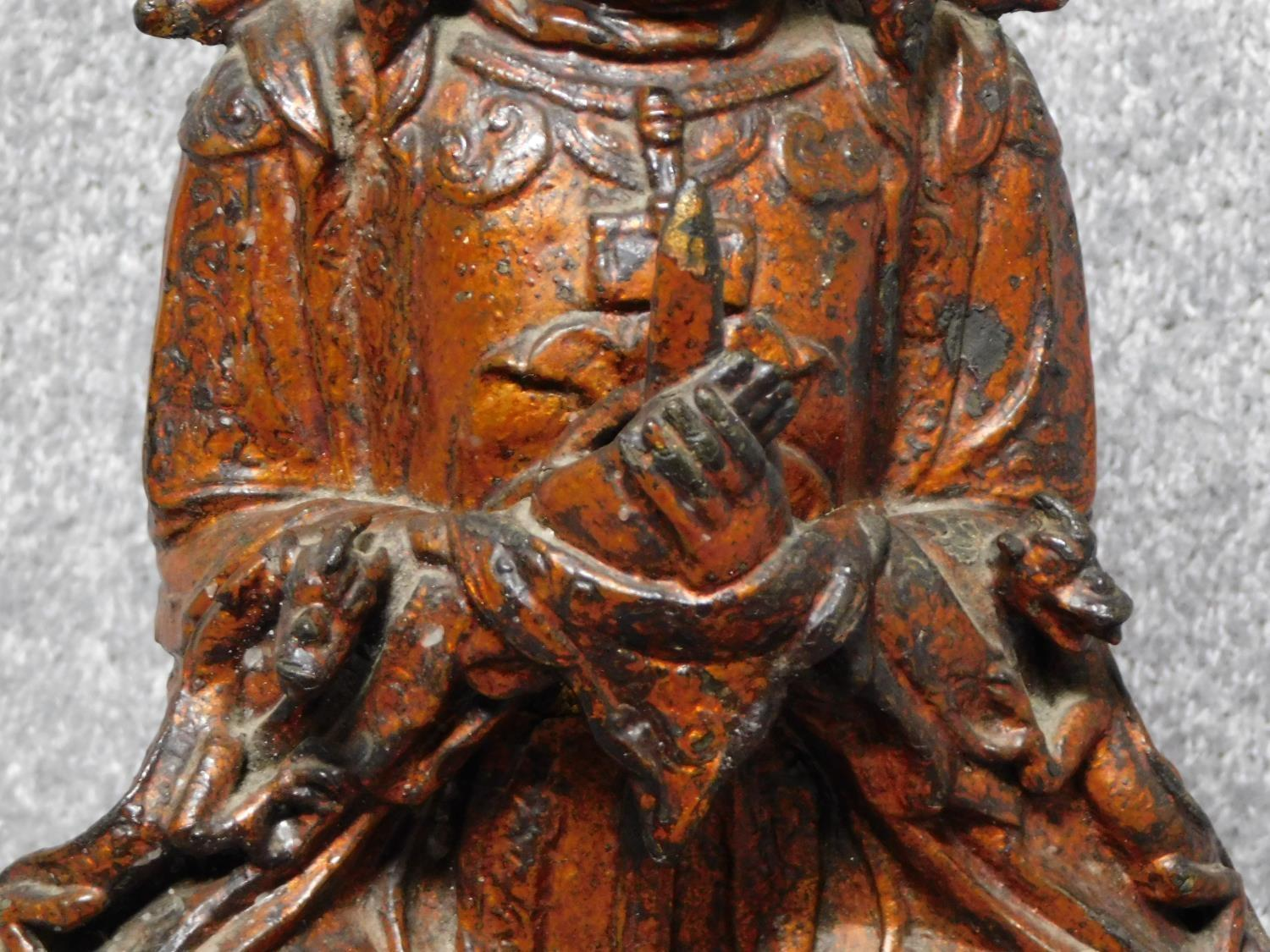 Possibly Ming dynasty Chinese gilt lacquered bronze seated figure of Guanyin. From a private - Image 4 of 6