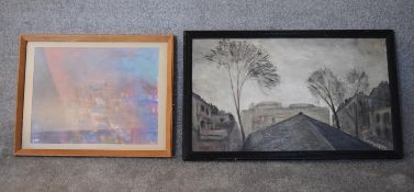 A framed oil on board, Earl's Court Rooftops by Sheila Aukett, label verso and a framed and glazed