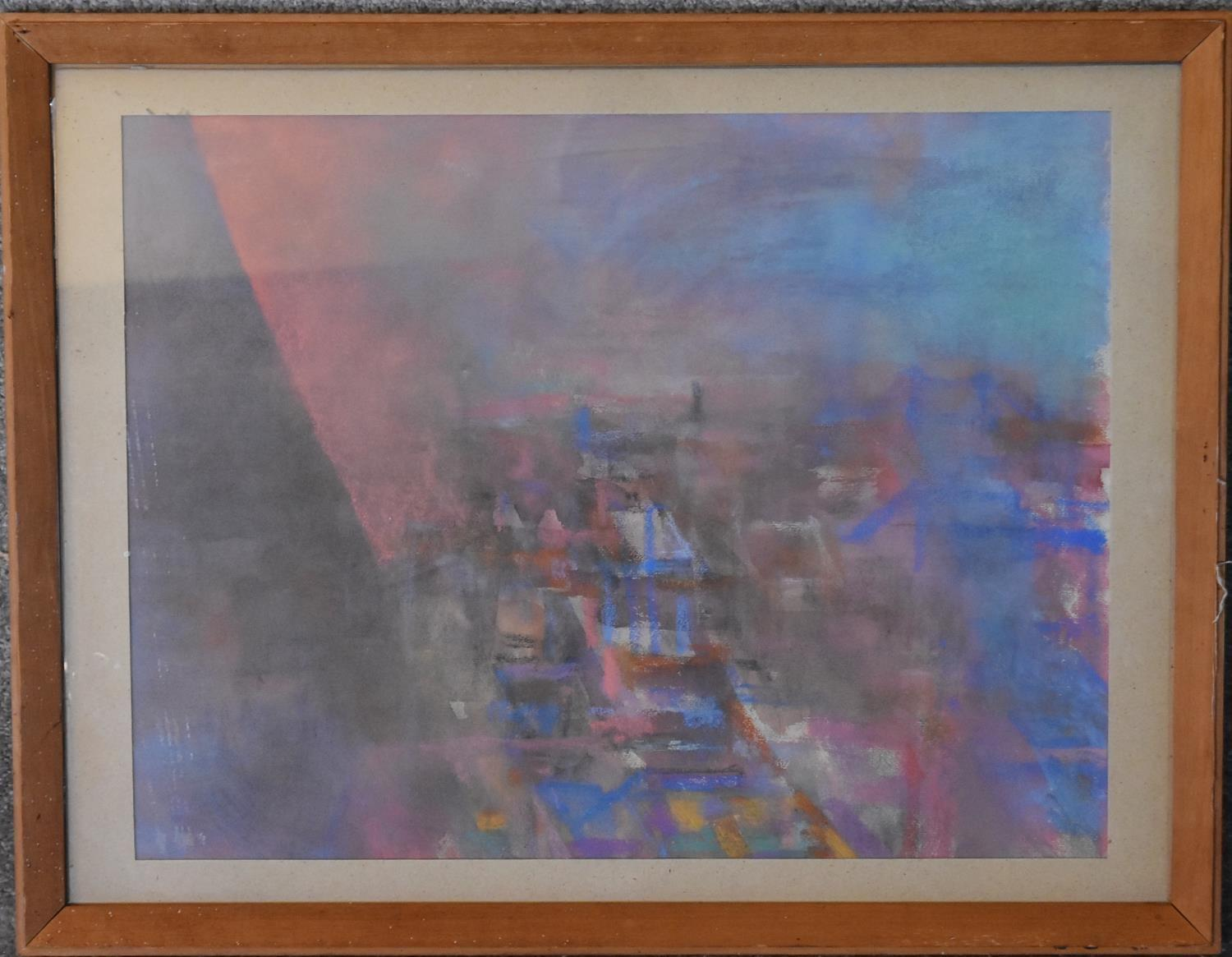 A framed oil on board, Earl's Court Rooftops by Sheila Aukett, label verso and a framed and glazed - Image 3 of 6