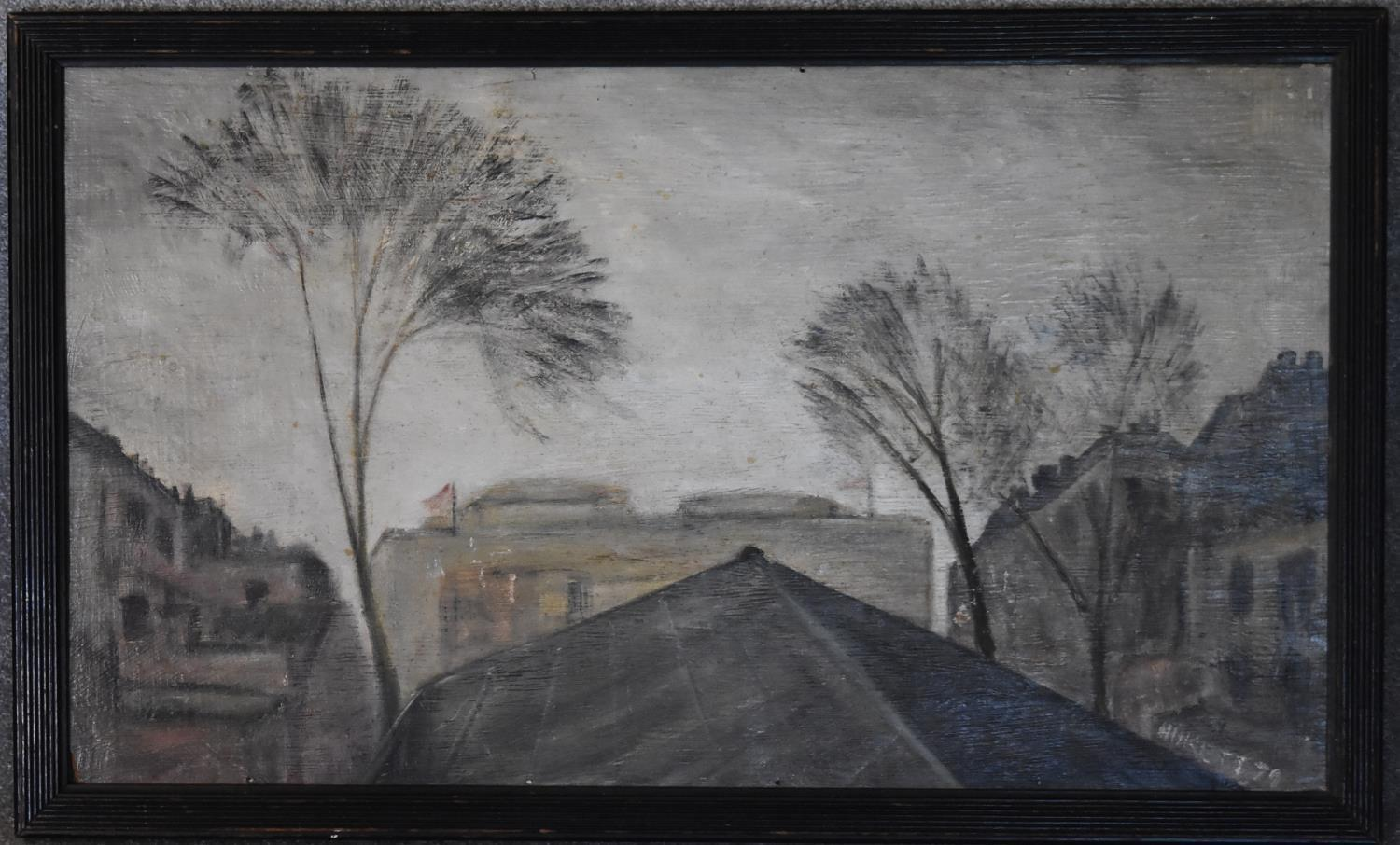 A framed oil on board, Earl's Court Rooftops by Sheila Aukett, label verso and a framed and glazed - Image 2 of 6