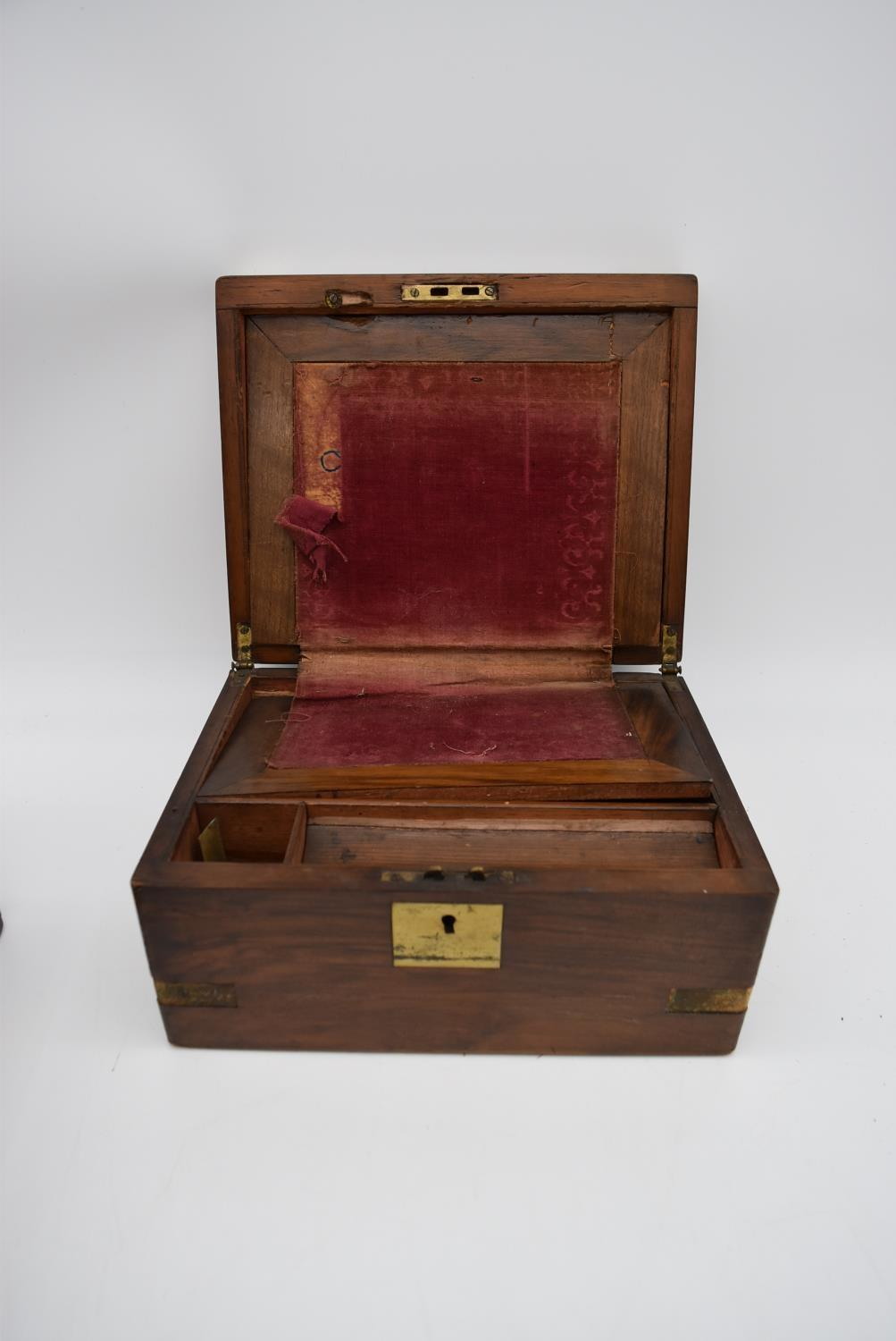 A 19th century brass bound walnut writing slope and two other similar boxes. H.15x35cm - Image 10 of 15