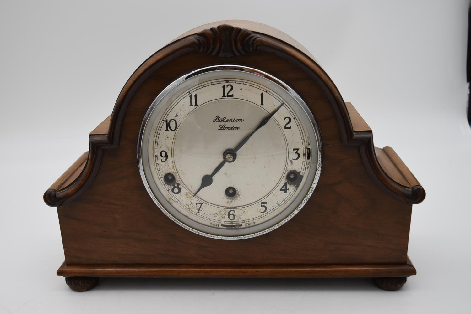 A miscellaneous collection of six mid 20th century mantel clocks. One by JW Benson of London. H. - Image 2 of 6
