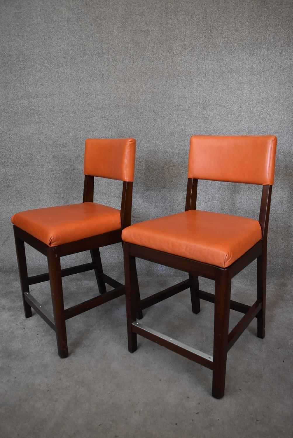 A pair of leather upholstered teak framed high stools. H.100x55cm - Image 2 of 3