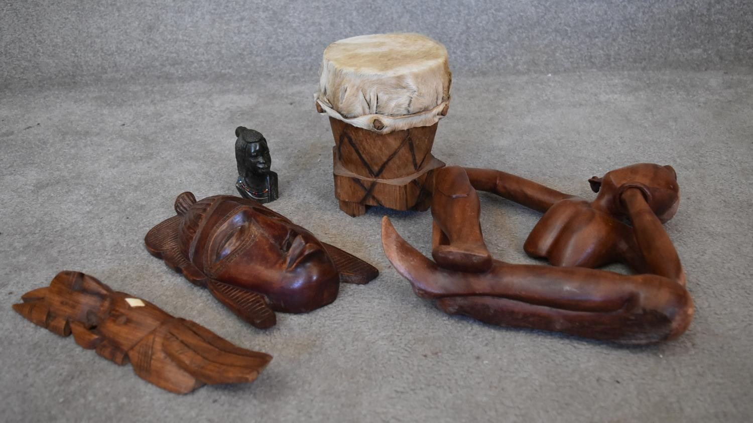 A small carved green hardstone African bust and a collection of various African tribal wooden - Image 2 of 7
