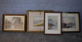 A 19th century gilt framed and glazed watercolour, Whitby Bay, two other framed and glazed