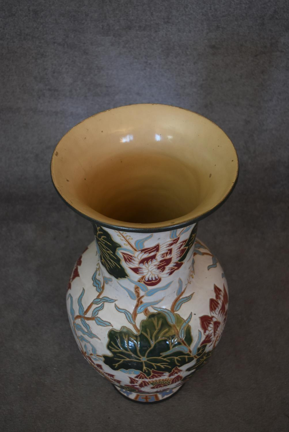 A large floor standing ceramic glazed Oriental style vase of bulbous form with lotus flower and - Image 3 of 4