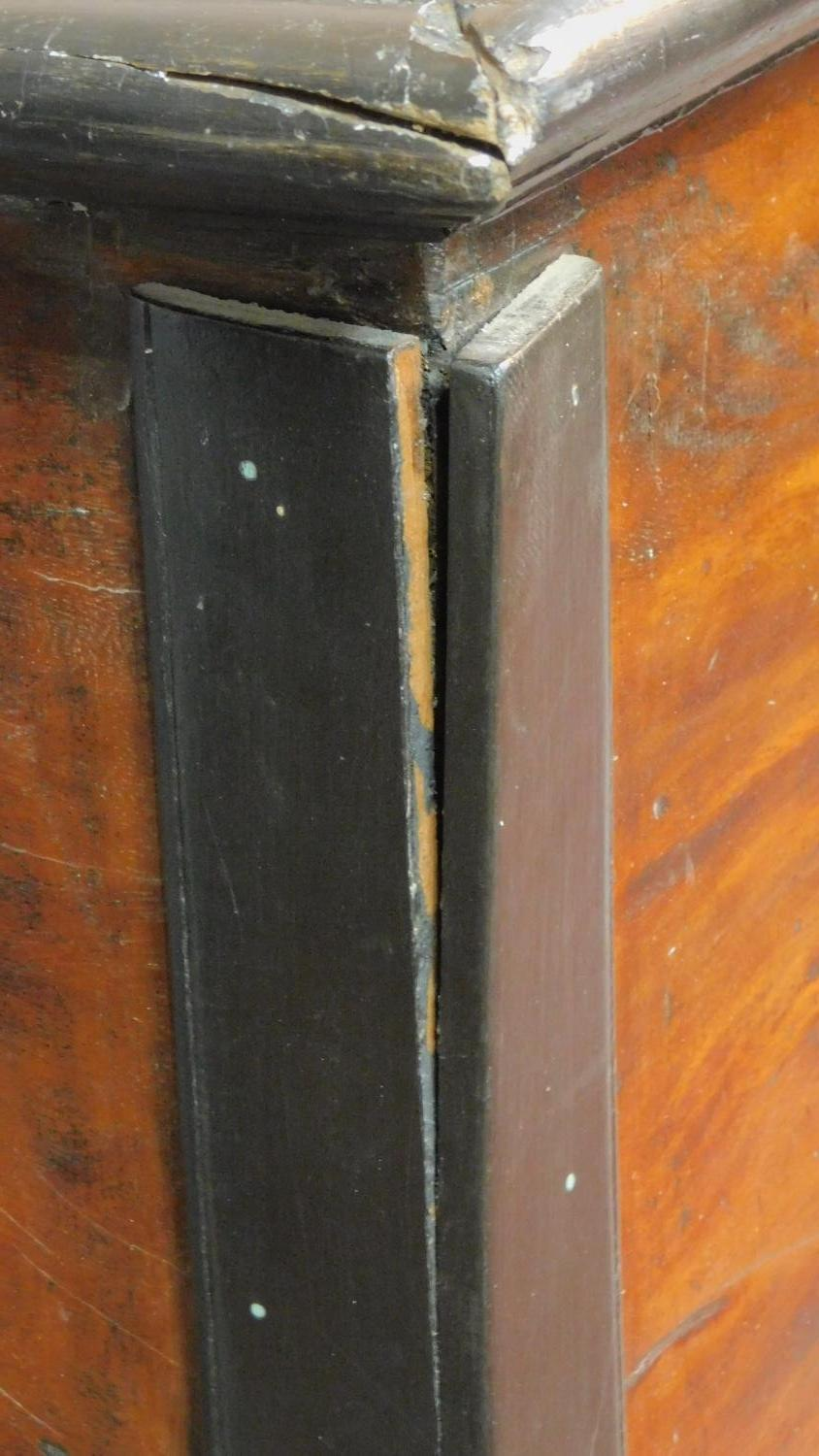 A 19th century Continental ebonised and fruitwood coffer with fret cut brass escutcheon, hinged - Image 10 of 11