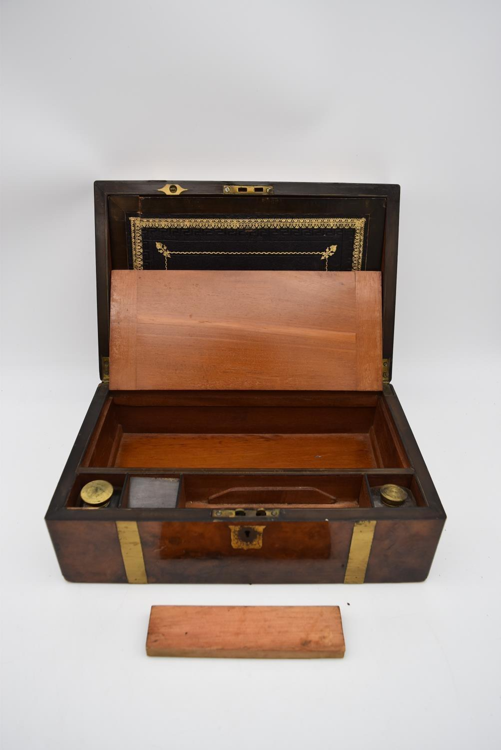 A 19th century brass bound walnut writing slope and two other similar boxes. H.15x35cm - Image 13 of 15