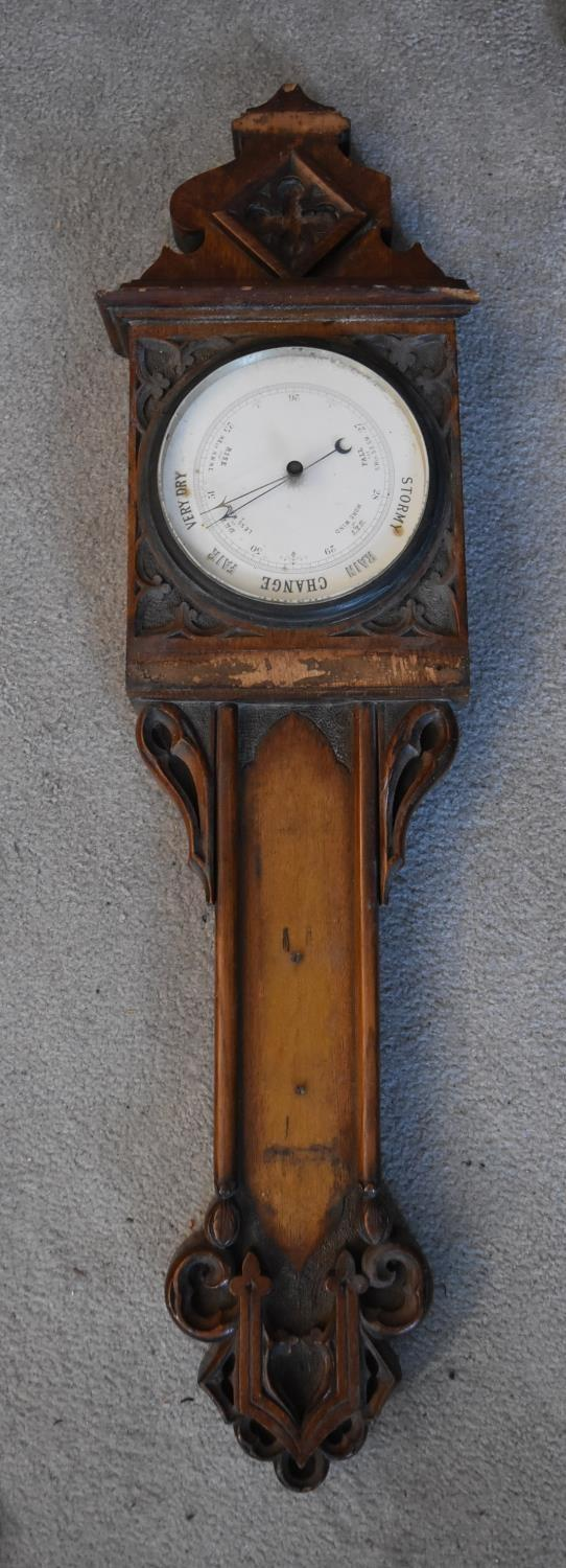 An early 19th century rosewood cased stick barometer and a miscellaneous collection of five late - Image 2 of 9
