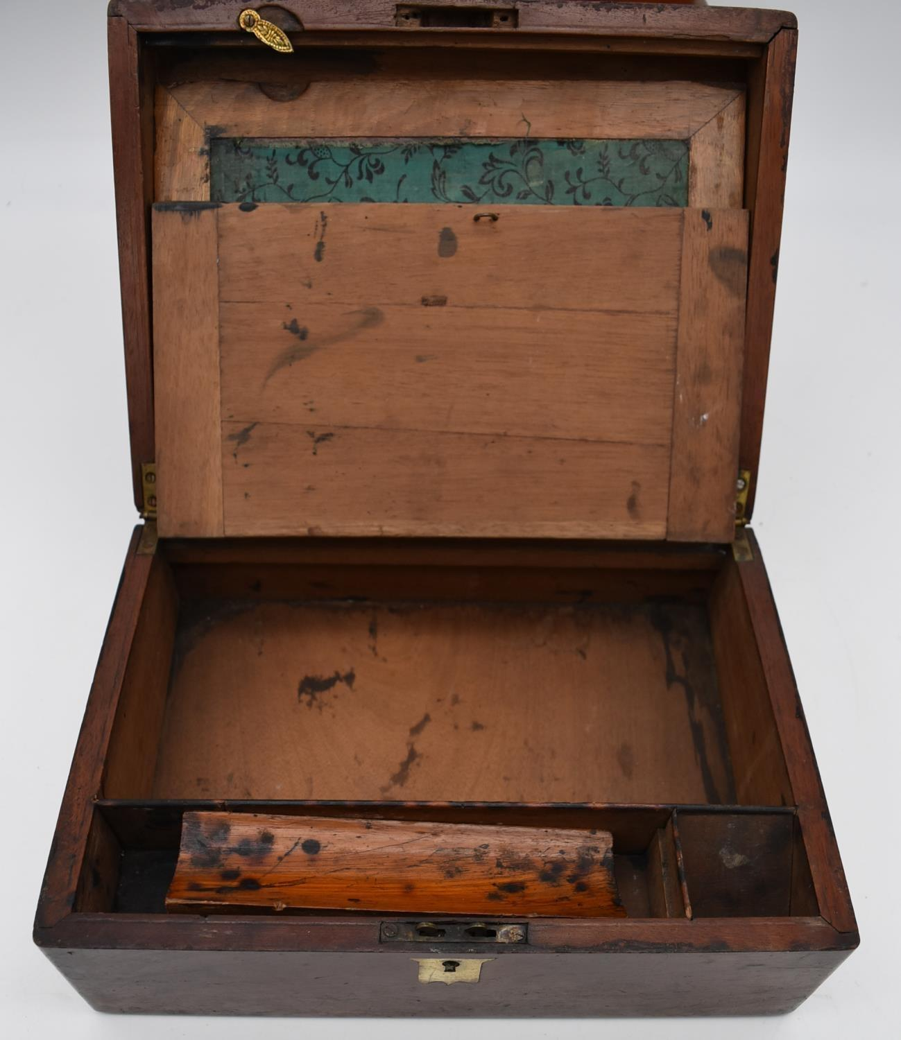A 19th century walnut fitted box and two other similar boxes. H.14x28cm - Image 7 of 12