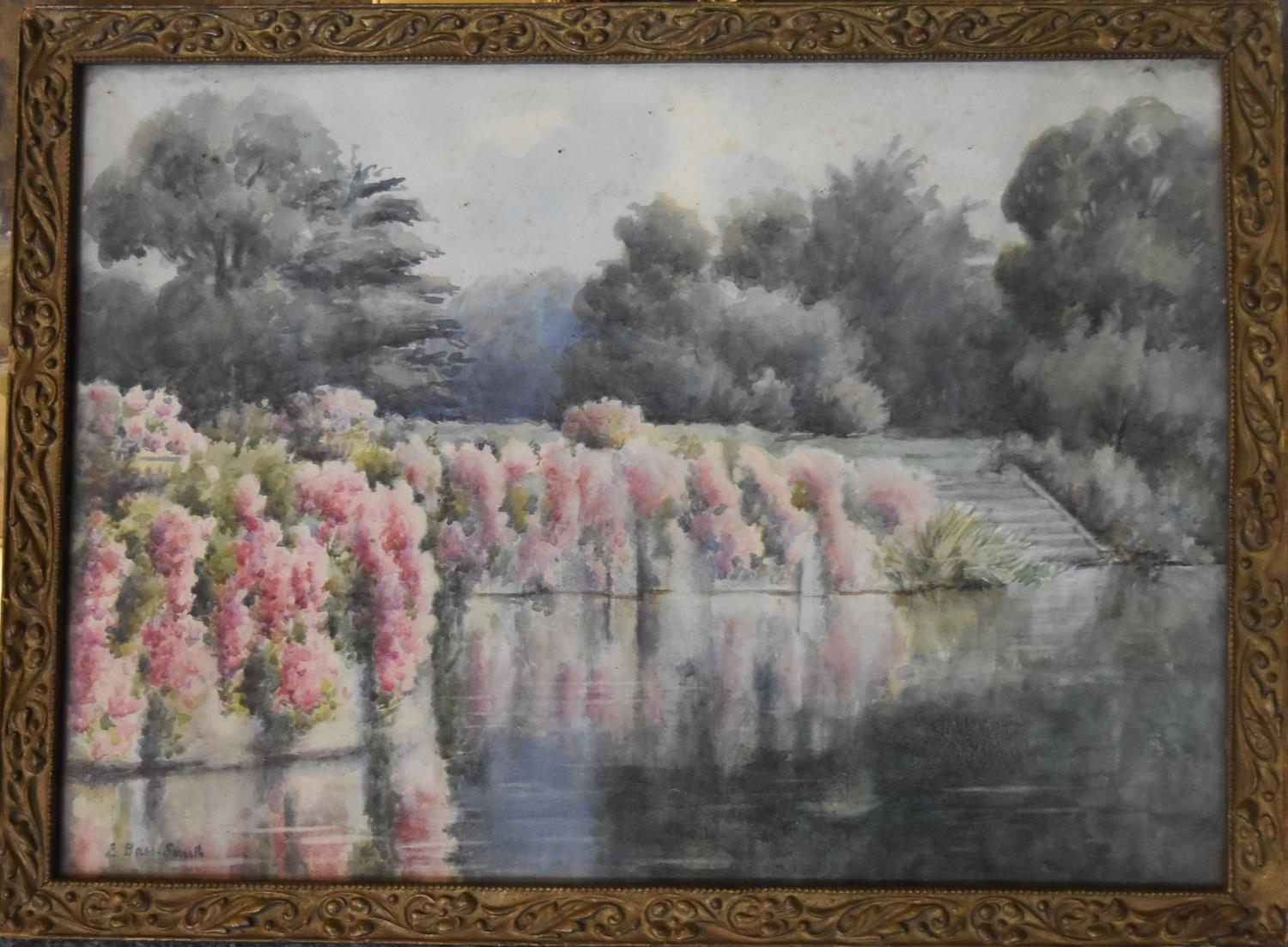 A collection of five various framed and glazed watercolours, riverscapes and landscapes. H.40x50cm - Image 2 of 13