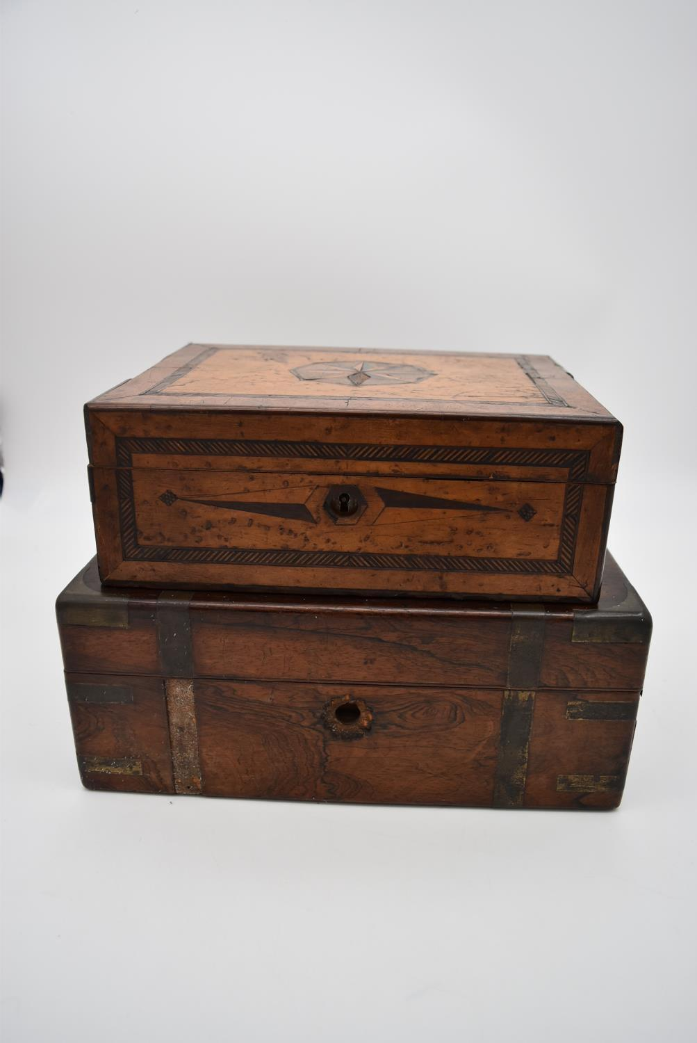 A 19th century yew, bird's eye maple, ebony and satinwood inlaid jewellery box and a 19th century