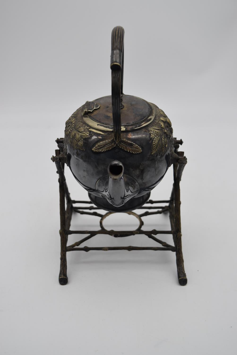 A 19th century silver plated spirit kettle on stand and a collection of five copper and brass - Image 7 of 8