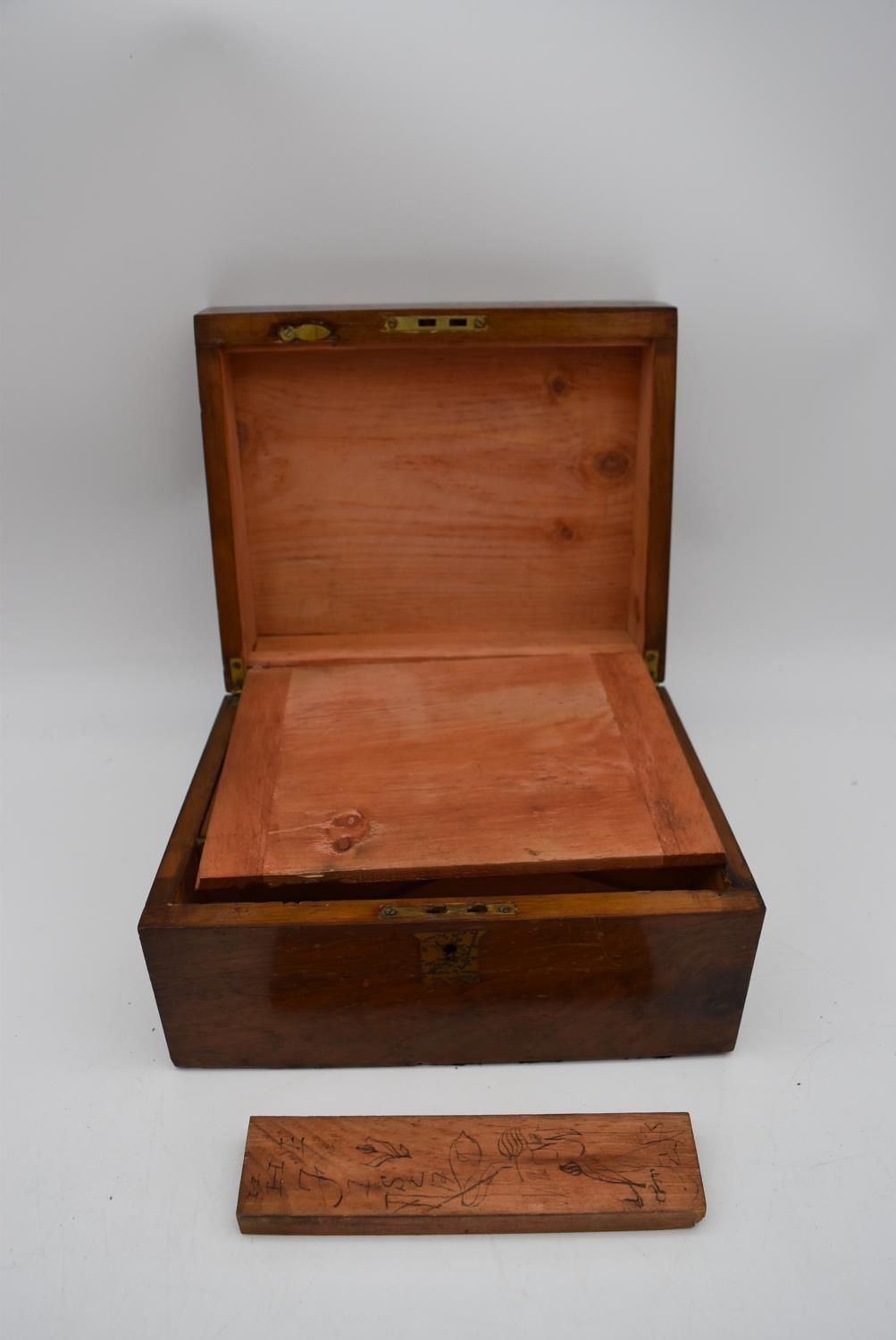 A 19th century walnut fitted box and two other similar boxes. H.14x28cm - Image 10 of 12