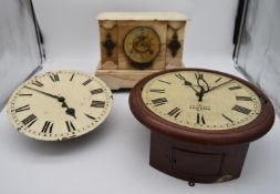 A 19th century mahogany cased drop dial wall clock, Geo Hammer and Co, a dial clock face and