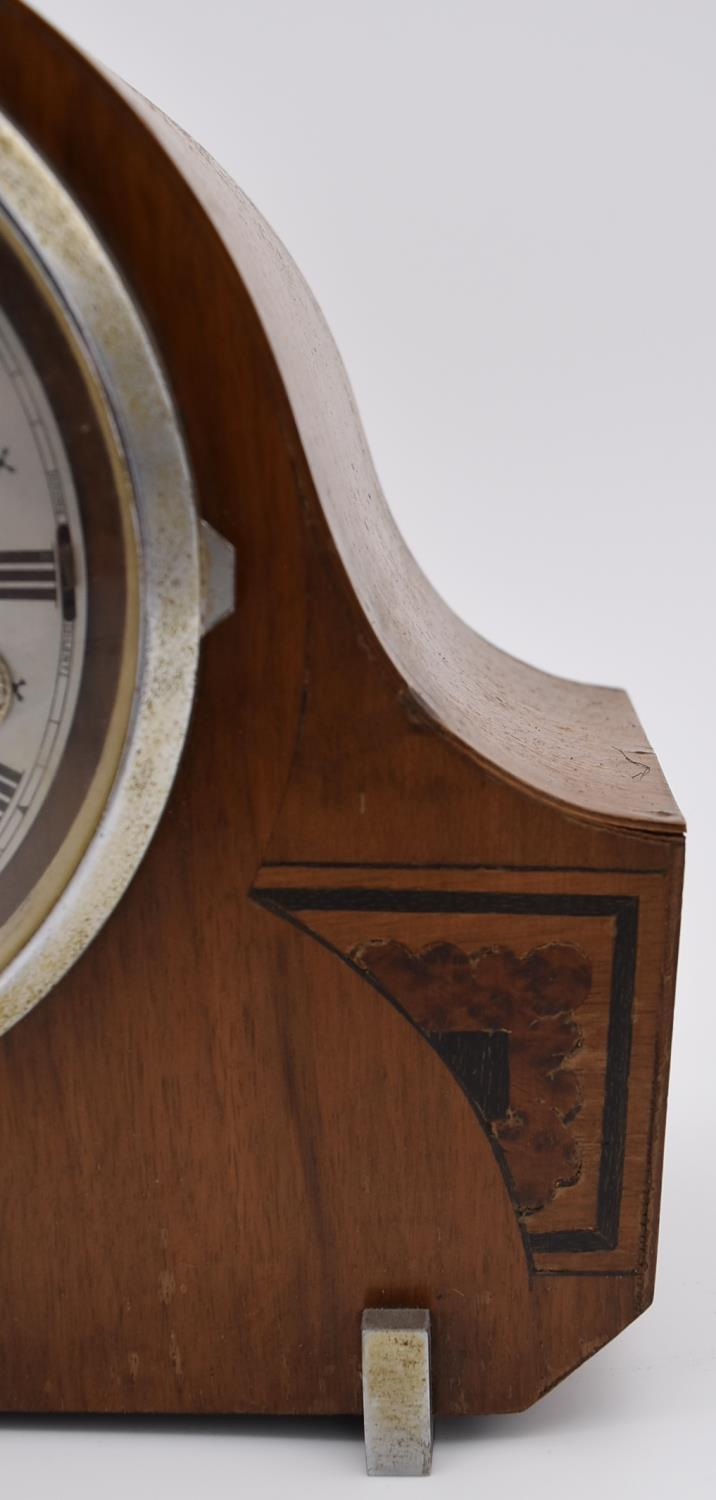 A collection of five mid 20th century mantel clocks with English brass movements. Some have roman - Image 3 of 8