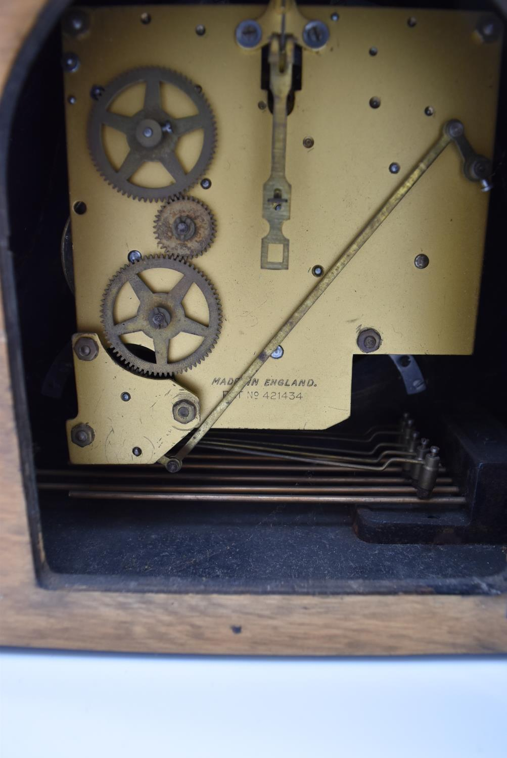 A collection of five mid 20th century mantel clocks with English brass movements. Some have roman - Image 8 of 8