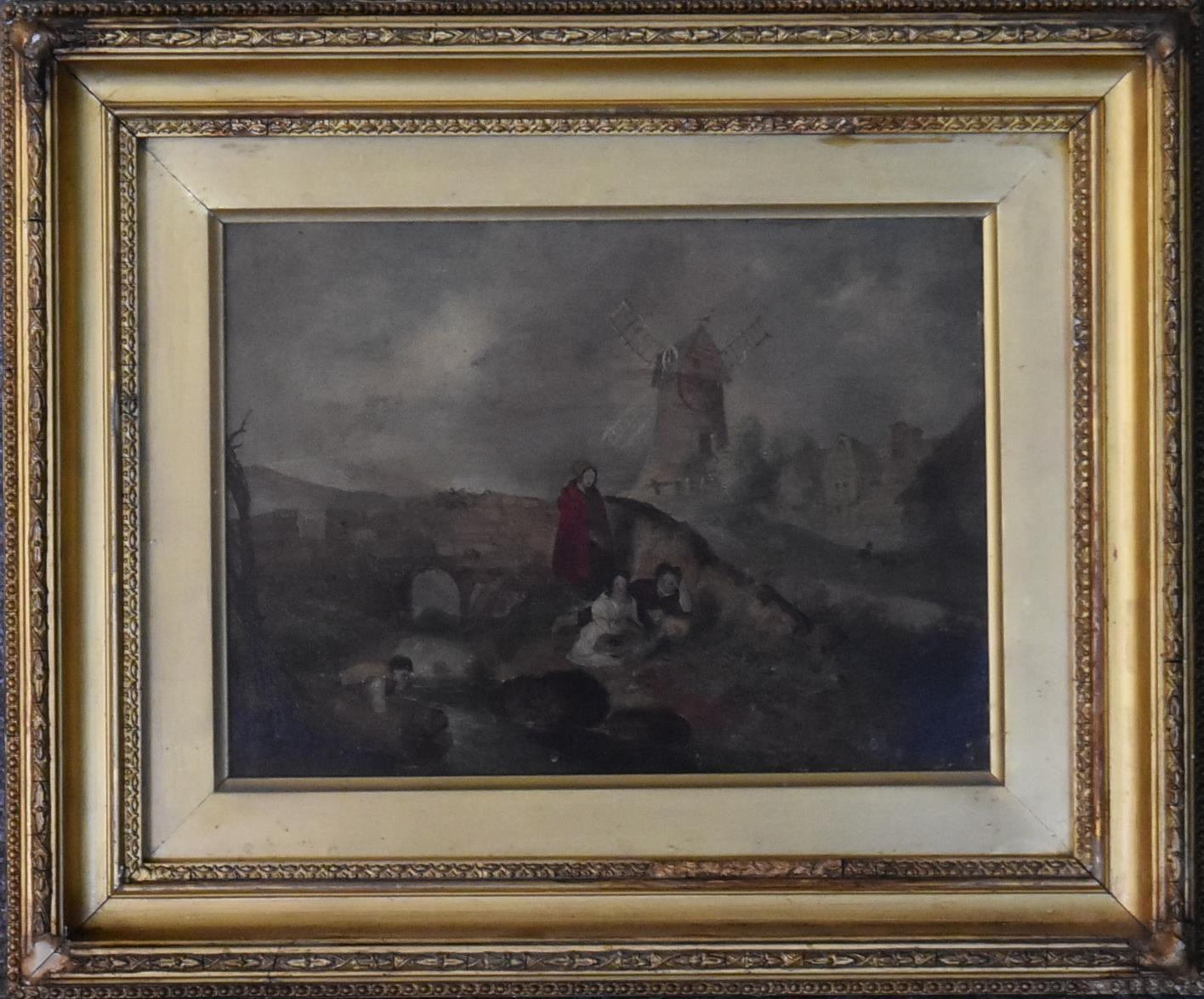 A gilt framed and glazed oil on board, windmill and village, figures in the foreground by a - Image 2 of 3