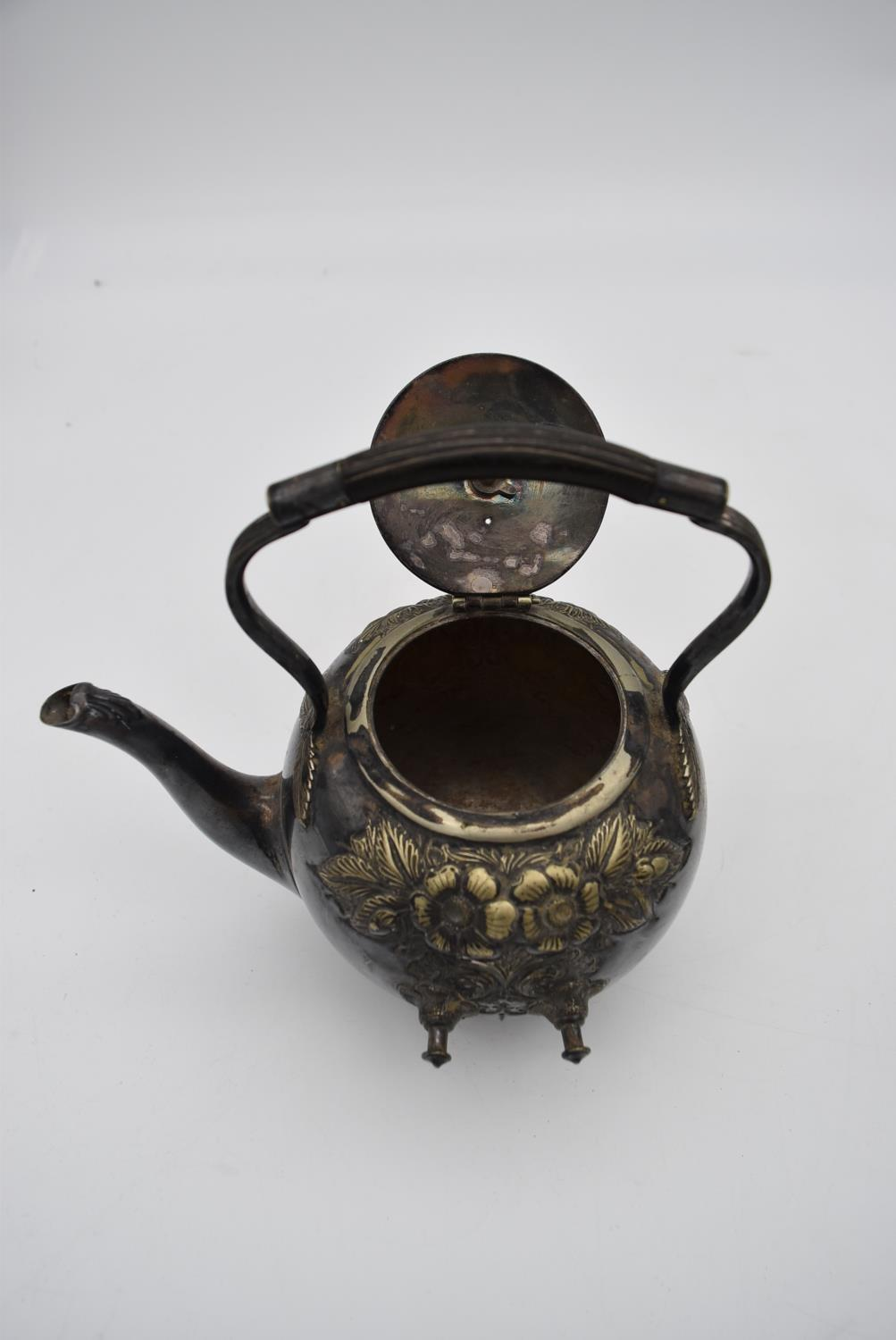 A 19th century silver plated spirit kettle on stand and a collection of five copper and brass - Image 3 of 8