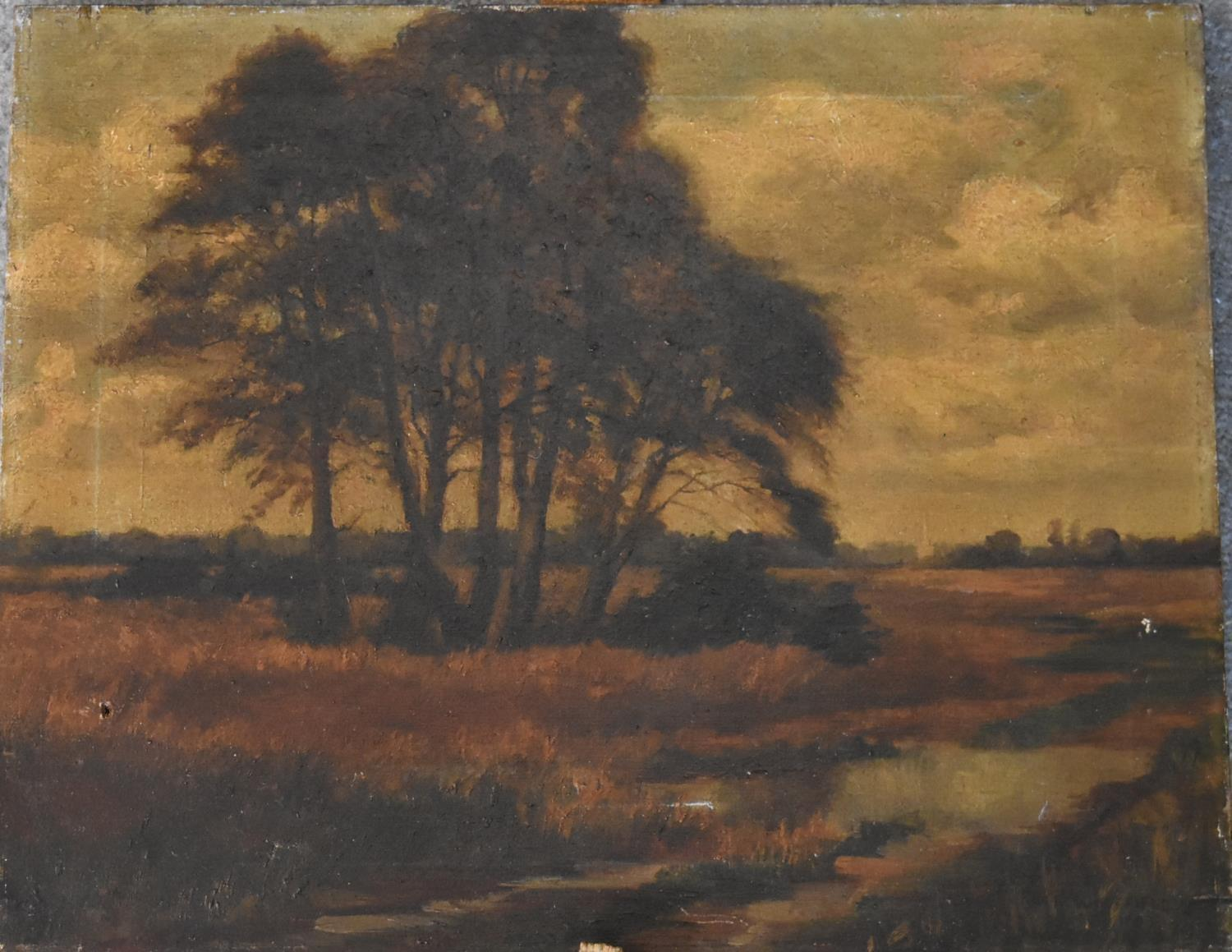 A 19th century unframed oil on canvas, riverscape with cathedral in the distance and a 19th - Image 2 of 4