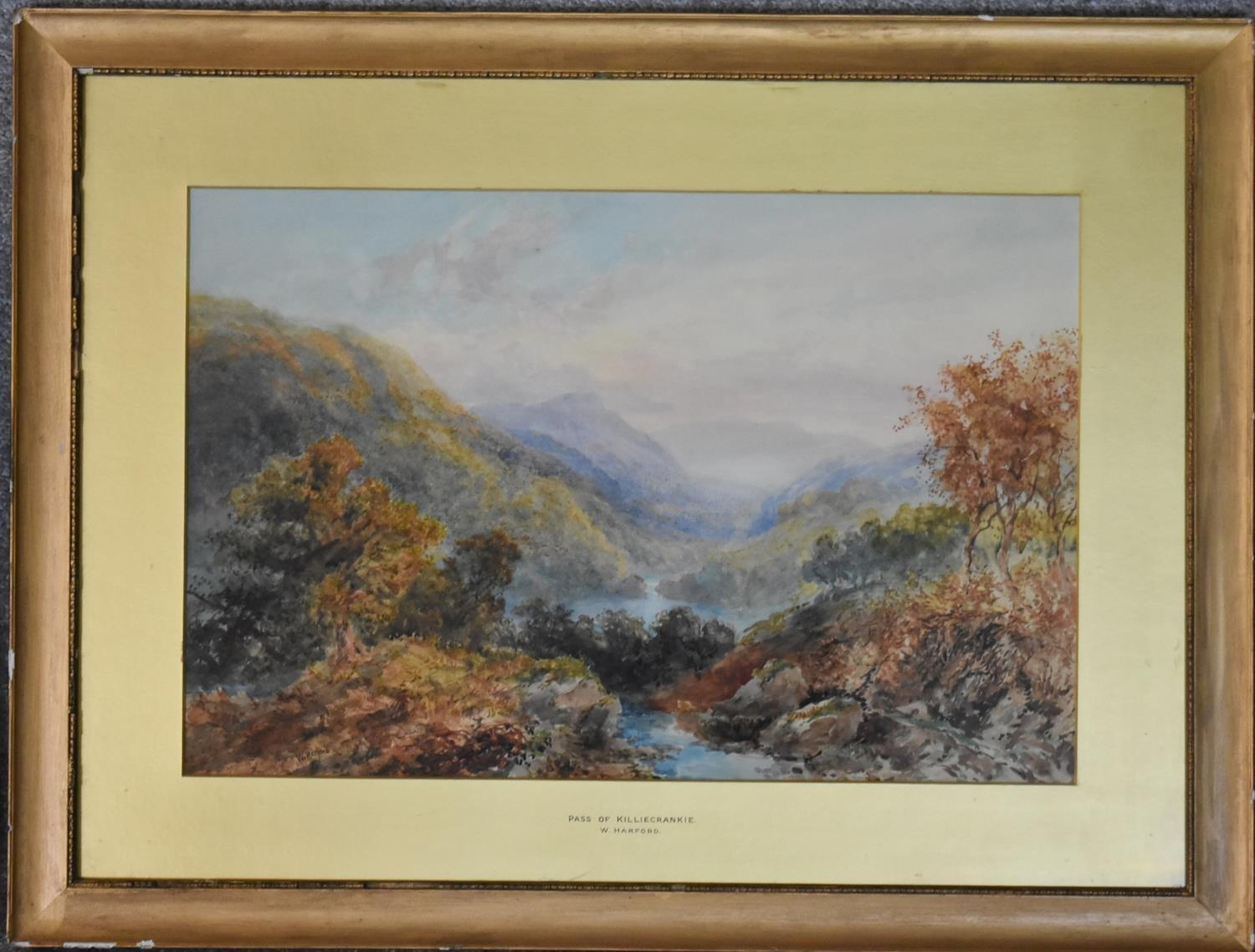 A framed and glazed watercolour; The Pass of Killliecrancie by W. Harford and two other framed and - Image 6 of 9