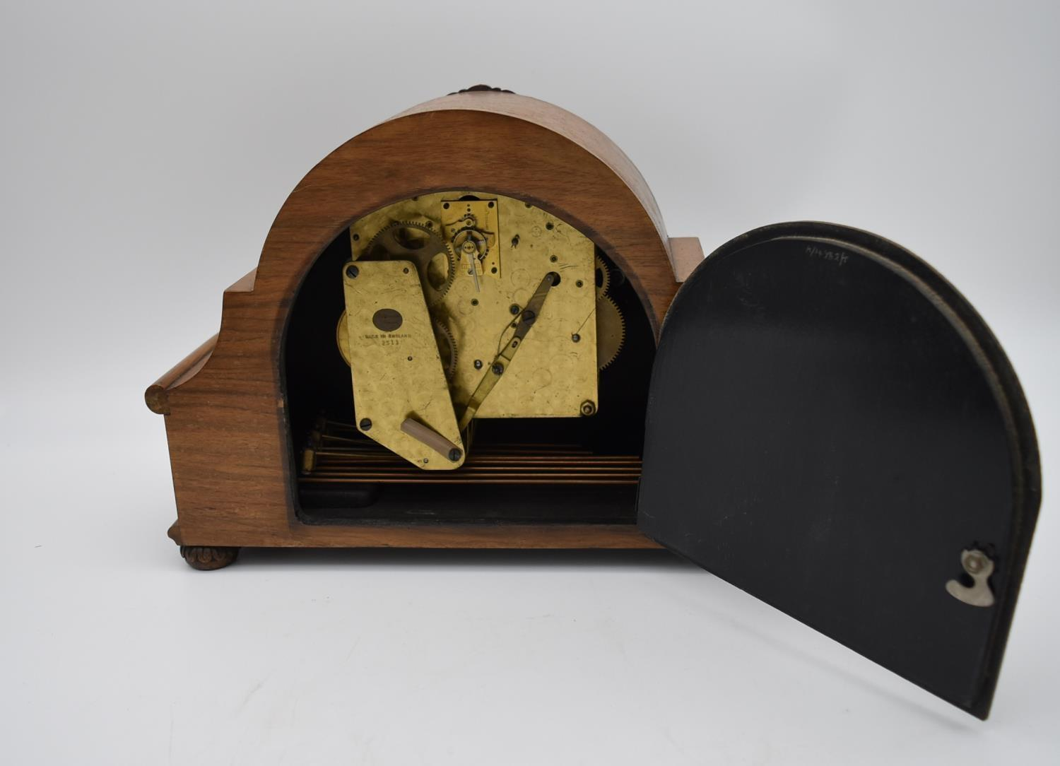 A miscellaneous collection of six mid 20th century mantel clocks. One by JW Benson of London. H. - Image 6 of 6