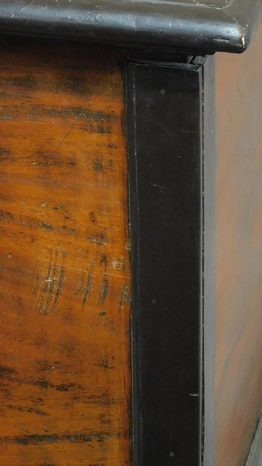 A 19th century Continental ebonised and fruitwood coffer with fret cut brass escutcheon, hinged - Image 4 of 11