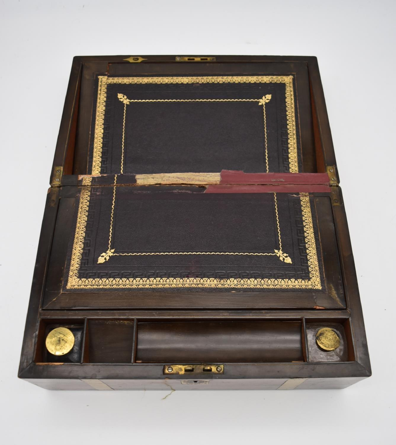 A 19th century walnut fitted box and two other similar boxes. H.14x28cm - Image 3 of 12