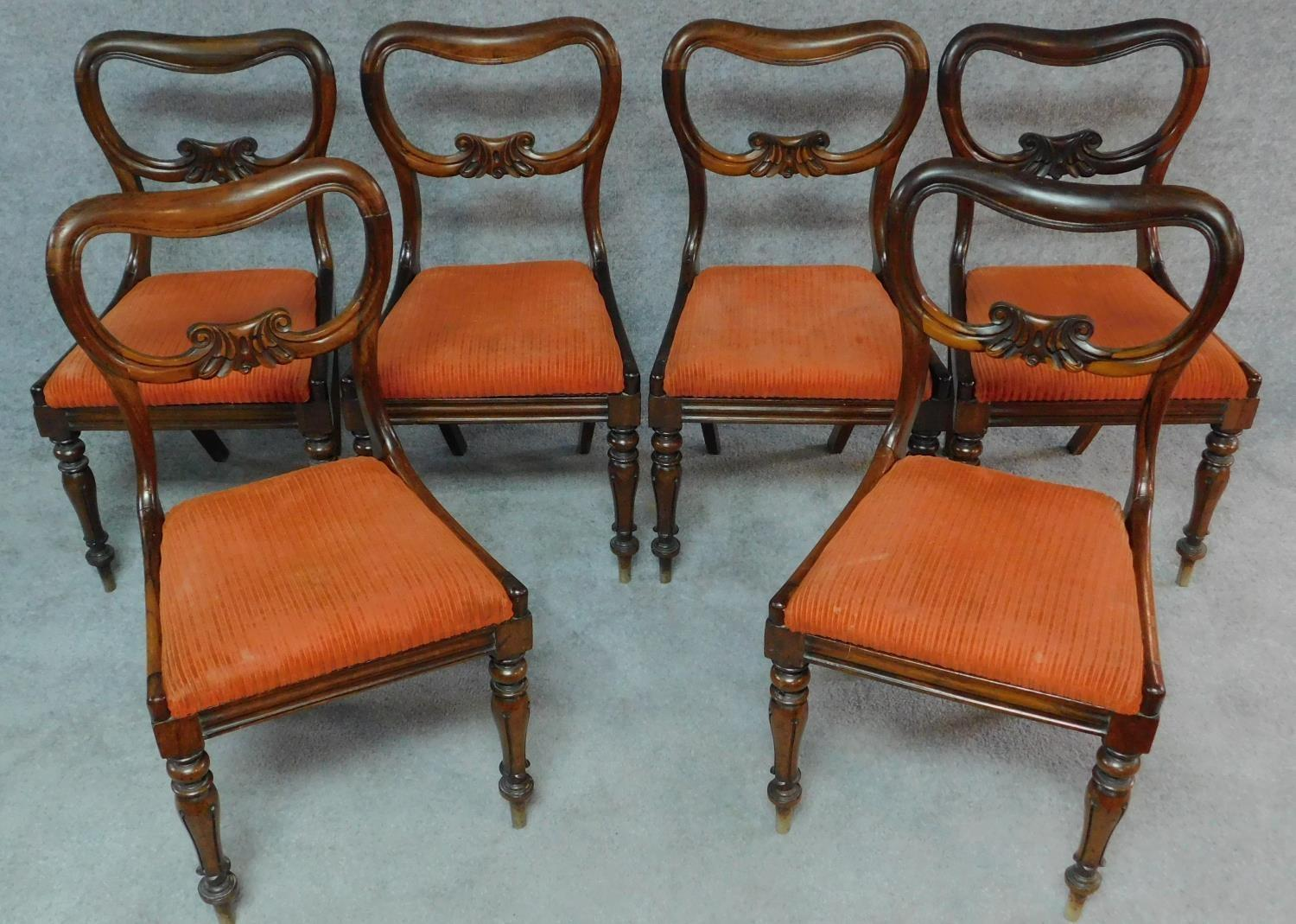 A set of six Victorian rosewood kidney shaped back dining chairs with drop in seats on carved