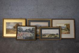 A collection of five various framed and glazed watercolours, riverscapes and landscapes. H.40x50cm