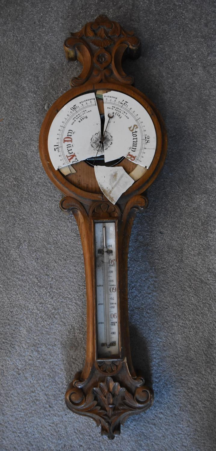 An early 19th century rosewood cased stick barometer and a miscellaneous collection of five late - Image 4 of 9