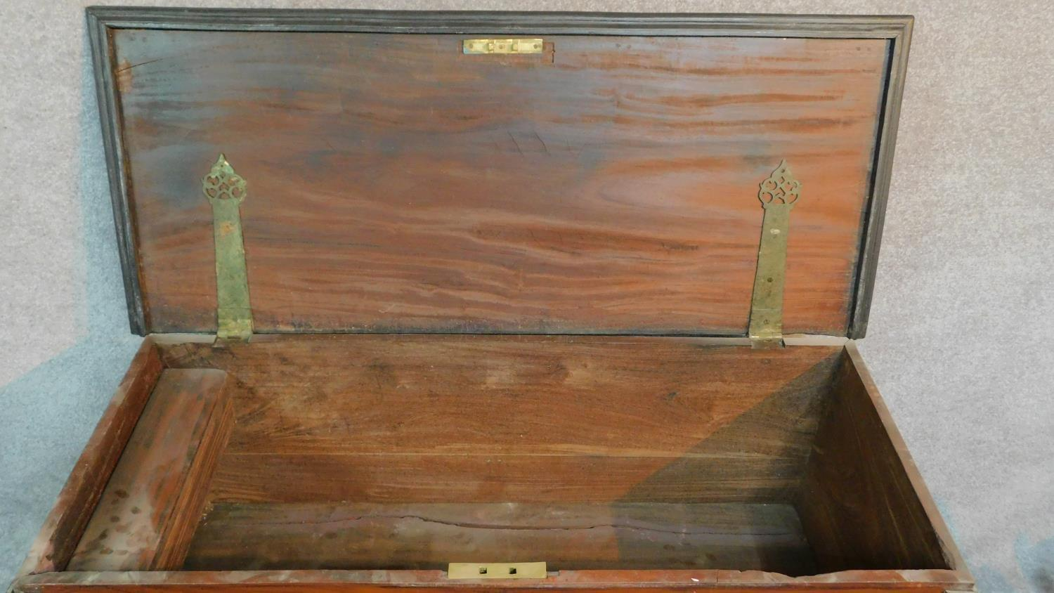 A 19th century Continental ebonised and fruitwood coffer with fret cut brass escutcheon, hinged - Image 6 of 11