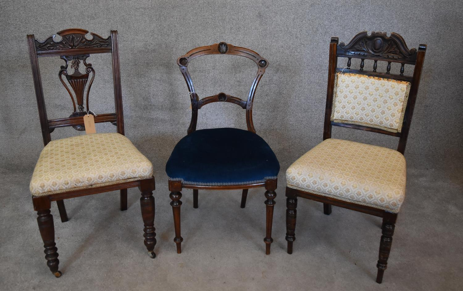 Three various late 19th century dining chairs. H.96x47cm